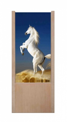 Lampada da tavolo in legno Cavallo Bianco
