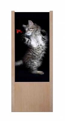 Lampada da tavolo in legno Gatto che gioca