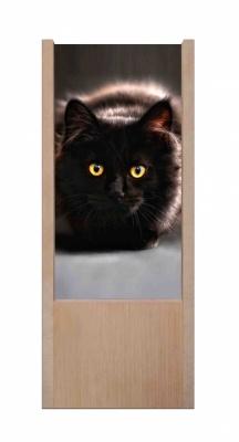 Lampada da tavolo in legno gatto nero occhi