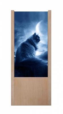 Lampada da tavolo in legno gatto nero