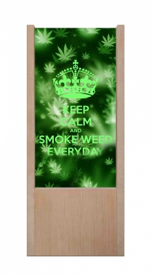 Lampada da tavolo in legno keep calm and smoke weed everyday