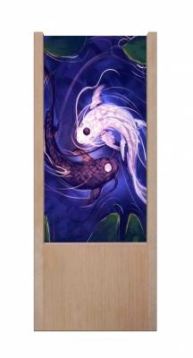 Lampada da tavolo in legno yin e yang pesci