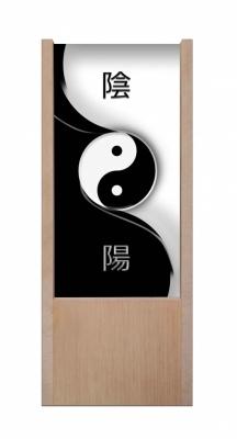 Lampada da tavolo in legno yin e yang