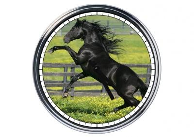 Orologio da parete in acciaio  Cavallo Frisone Nero
