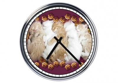 Orologio da parete in acciaio  Gattini che dormono