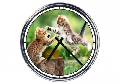 Orologio da parete in acciaio  Gattini giocherelloni