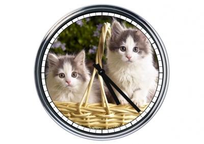 Orologio da parete in acciaio  Gattini nella cesta