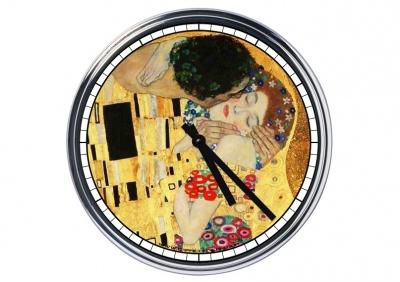 Orologio da parete in acciaio Klimt Il Bacio (particolare)
