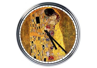Orologio da parete in acciaio Klimt Il Bacio