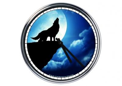 Orologio da parete in acciaio  Lupo alla luna