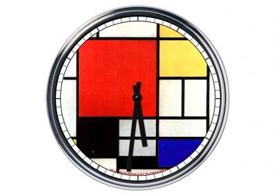 Orologio da parete in acciaio Mondrian Composizione